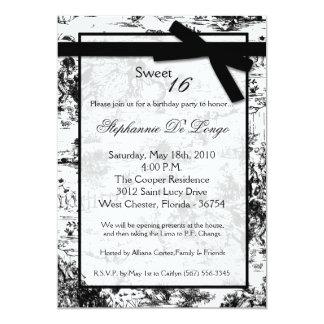 5x7 Black ToileFabric Sweet 16 Birthday Invitation