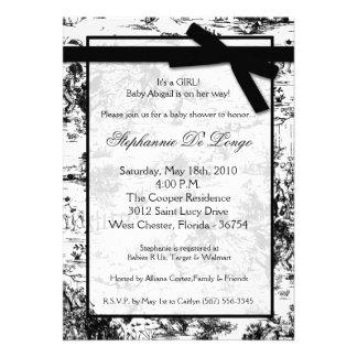 5x7 Black Whit Toile Fabric Baby Shower Invitation Custom Invitations