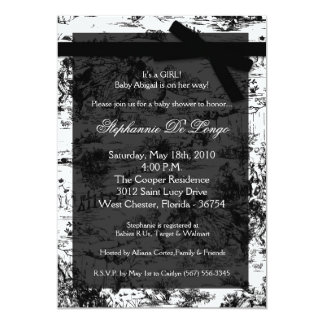 5x7 Black Whit Toile Fabric Baby Shower Invitation