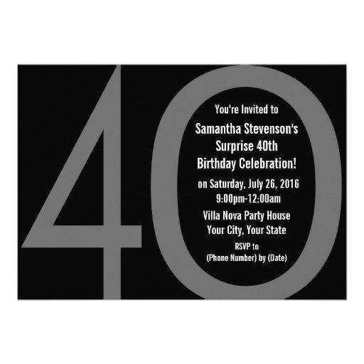 5x7 Black+White Big 4-0 Birthday Party Invitations