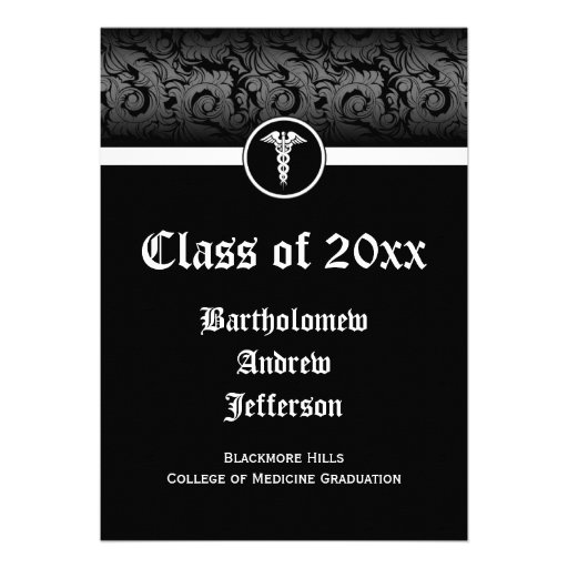 5x7 Black/White Caduceus Medical School Graduation Invites