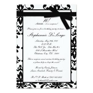 5x7 Black White Damas Sweet 16 Birthday Invitation
