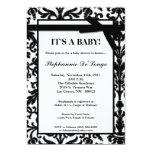 5x7 Black White Damask Lace Baby Shower Invitation