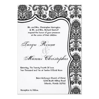 5x7 Black White Damask Lace Wedding Invitation