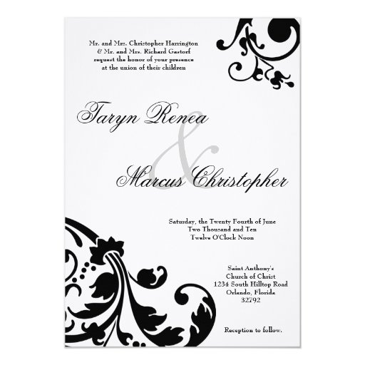 5x7 Black White Floral Linen Wedding Invitation