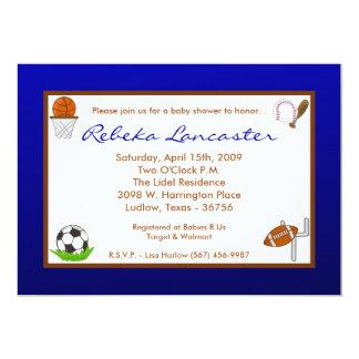 "5x7 Blu Boy Sports Football Baby Shower Invitation 5"" X 7"" Invitation Card"