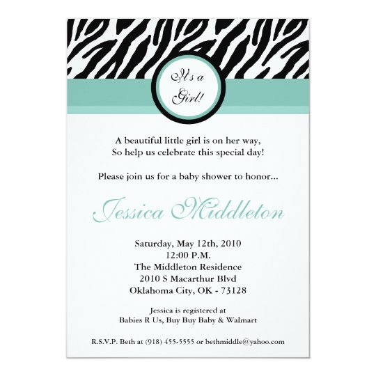 5x7 Blu Zebra Print Baby Shower Invitation