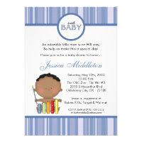 5x7 Blue African Baby Boy Baby Shower Invitation
