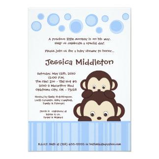 5x7 Blue Baby Pop Monkey Baby Shower Invitation