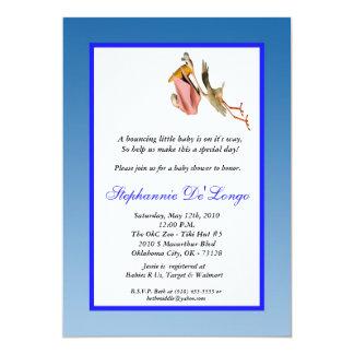 5x7 Blue Boy & Stork Baby Shower Invitation