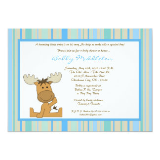 5x7 Blue Boy Woodland Moose Baby Shower Invitation