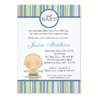 5x7 Blue Caucasi Baby Boy Baby Shower Invitation