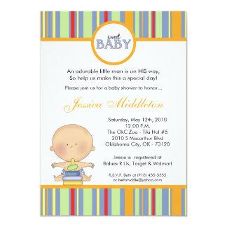 5x7 Blue Caucasian Baby Boy Baby Shower Invitation