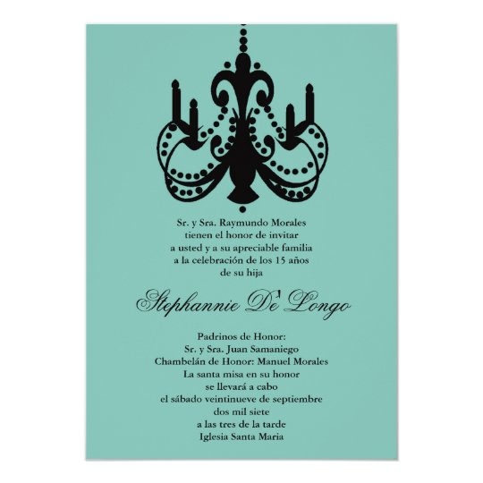 5x7 Blue Chandelier Quinceanera Invitation