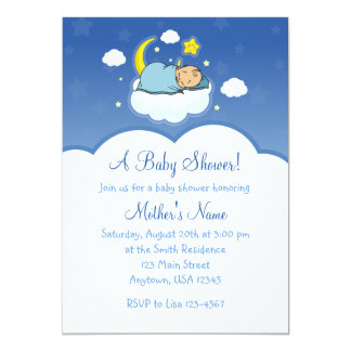 5x7 Blue Cloud Baby Boy Baby Shower Invitations