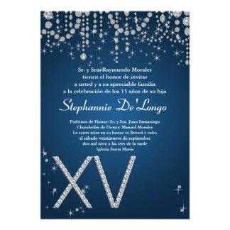 5x7 Blue Diamond Quinceanera Birthday Invitation