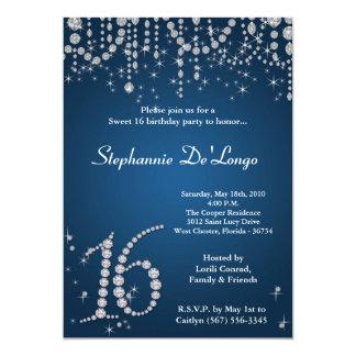 5x7 Blue Diamond Sweet 16 Birthday Invitation