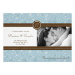 5x7 Blue Floral Photo Save the Date Announcement
