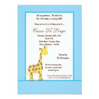 5x7 Blue Giraffe Birthday Party Invite