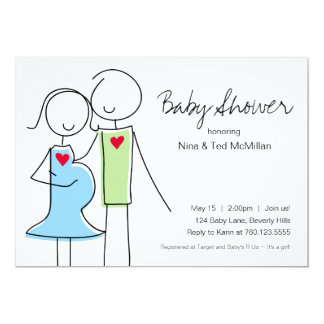 5x7 Blue & Green Coed Baby Shower Invitations