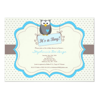5x7 Blue Hoot Owl Woodland Baby Shower Invitation