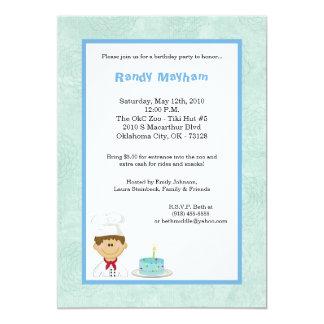 5x7 Blue Kid Boy Chef Birthday Party Invitation