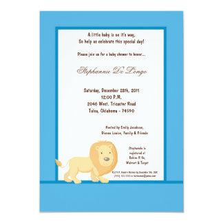 5x7 Blue Lion Baby Shower Invitation