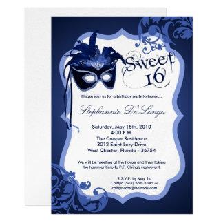 5x7 Blue Masquerade Mask 16 Birthday Invitation