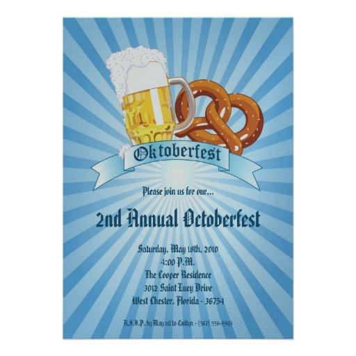 5x7 Blue Oktoberfest Beer Pretzel Party Invitation