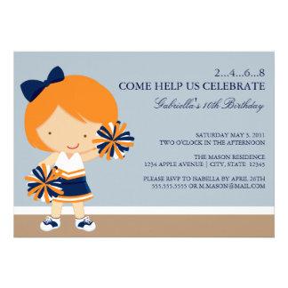 5x7 Blue Orange Cheerleader Birthday Party Invite