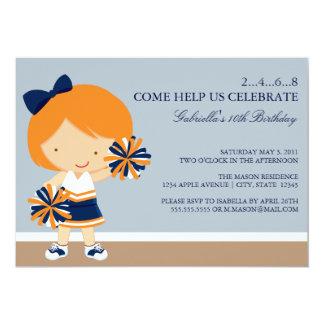 "5x7 Blue/Orange Cheerleader Birthday Party Invite 5"" X 7"" Invitation Card"