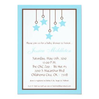 5x7 Blue Star Mobile Baby Shower Invitation