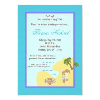 "5x7 Blue Surfer Boy Birthday Party Invitation 5"" X 7"" Invitation Card"