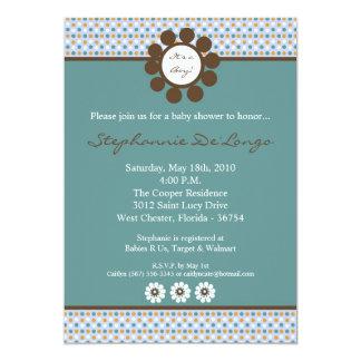 5x7 Blue Sweethear PolkaDot Baby Shower Invitation