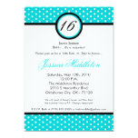 5x7 Blue White Polka Dot 16th Birthday Invitation