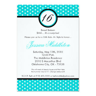 5x7 Blue White Polka Dot 16th Birthday Invitation
