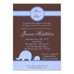 5x7 Boy Blue Mod Elephant Baby Shower Invitation