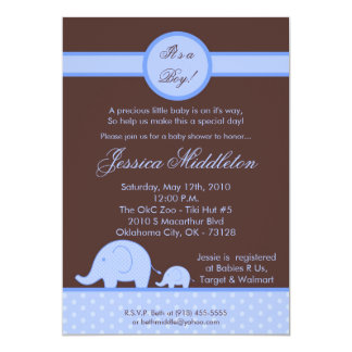 5x7 Boy Blue Mod Elephant Baby Shower Invitation