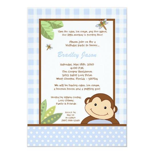5x7 Boy Blue Papgayo Monkey Birthday Invitation
