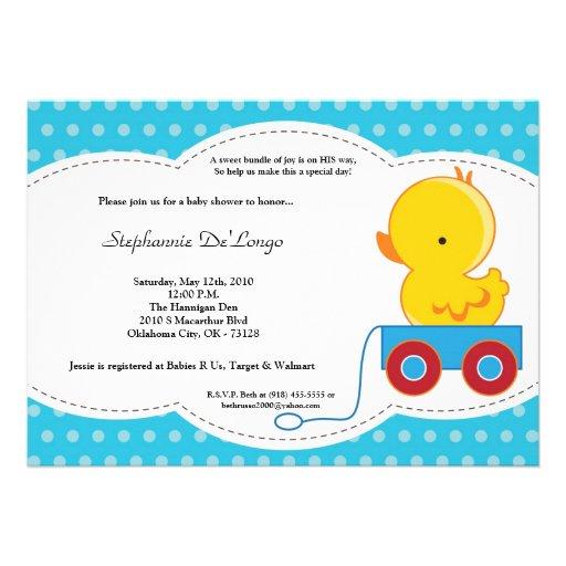 polkadot duck baby shower invitation 5 x 7 invitation card
