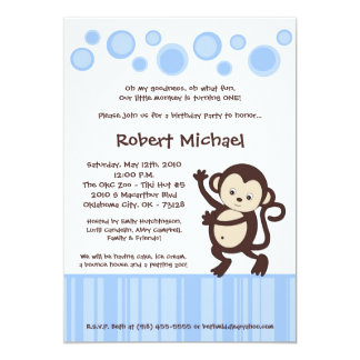 5x7 Boy Blue Pop Monkey Dance Birthday Invitation