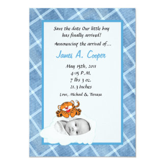 5x7 Boy Cloud PHOTO on Circle Birth Announcement