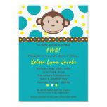 5x7 Boy Modern Mod Monkey Birthday Par Invitation