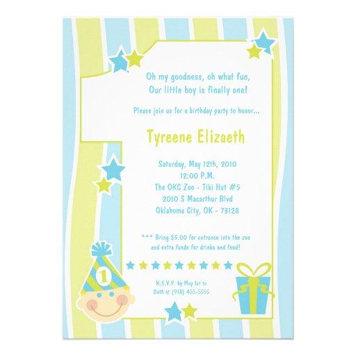 5x7 Boy One 1 Year Old Birthday Party Invitation 5 X 7 Invitation Card