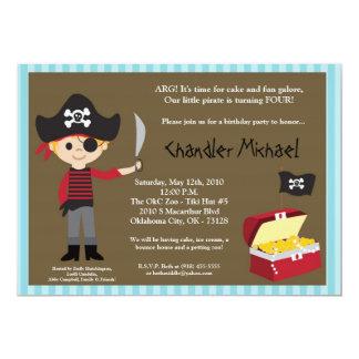 5x7 Boy Pirate Treasure Birthday Party Invitation