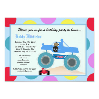 5x7 Boy Punk 4x4 Truck Birthday Party Invitation