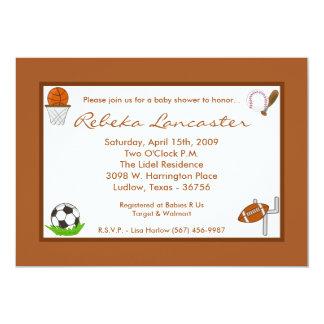 "5x7 Boy Sports Football Baby Shower Invitation 5"" X 7"" Invitation Card"