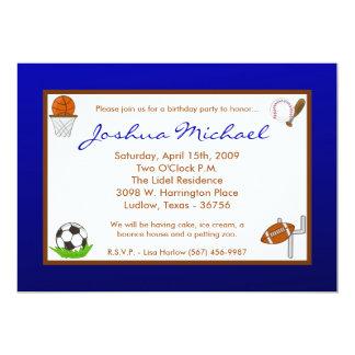 "5x7 Boy Sports Football Birthday Party Invitation 5"" X 7"" Invitation Card"