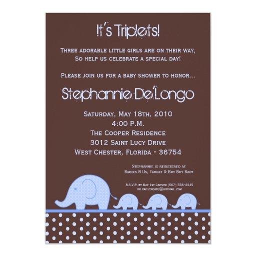 5x7 Boy Triplets Elephant Baby Shower Invitation
