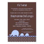 5x7 Boy Twins Mod Elephant Baby Shower Invitation Personalized Invitation